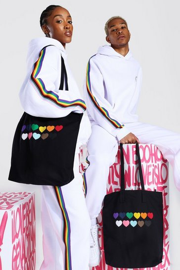 Black Pride Rainbow Heart Tote Bag