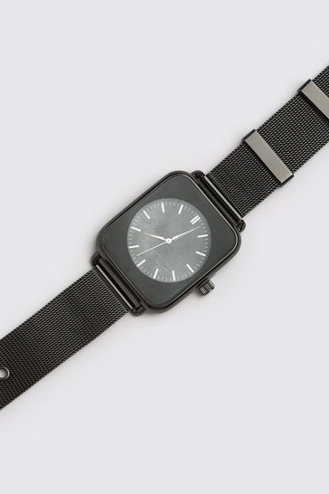Black Man Square Face Watch With Mesh Strap