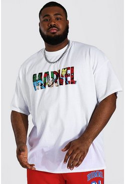 White Plus Size Infill Marvel License T-shirt