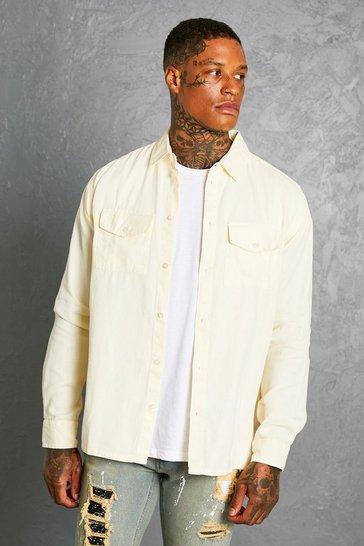 Stone beige Garment Dyed Twill Overshirt