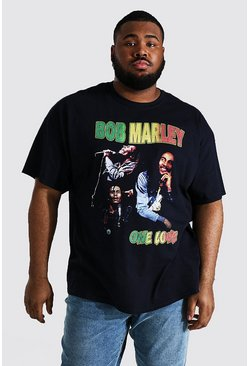 Black Plus Size Bob Marley Homage License T-shirt