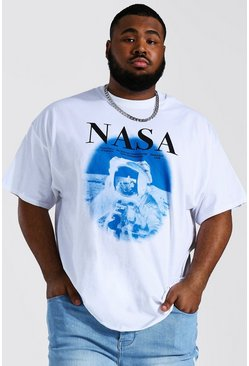 White Plus Size Nasa Astronaut License T-shirt