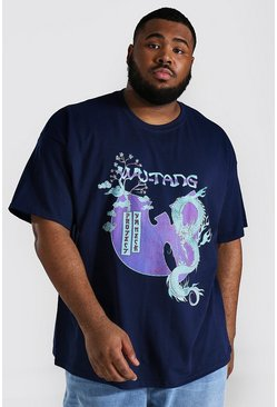 Navy Plus Size Gelicenseerd Wutang T-Shirt