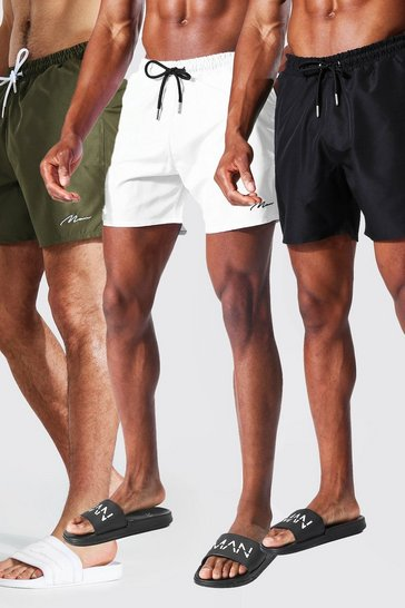 Black Man Signature 3pk Mid Length Swim Shorts