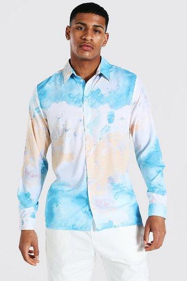 Blue Long Sleeve Tie Dye Shirt