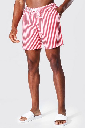 Red Mid Length Pinstripe Swim Short