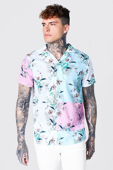 Multi Short Sleeve Colour Block Floral Revere Shirt