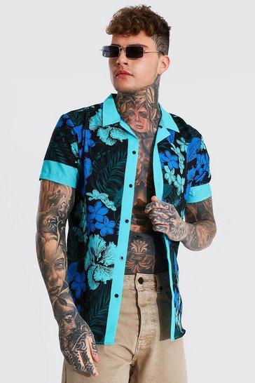 Teal green Short Sleeve Floral Border Revere Shirt