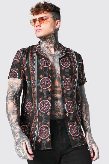 Black Short Sleeve Aztec Revere Shirt