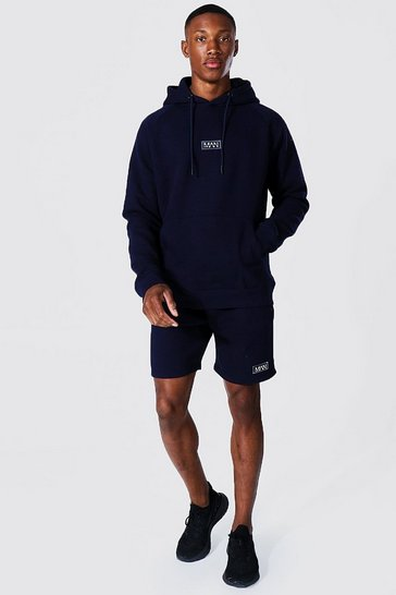 Navy Man Active Training Hoodie And Short Set