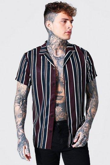 Black Short Sleeve Stripe Shirt