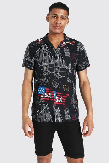 Black Short Sleeve Usa Revere Shirt