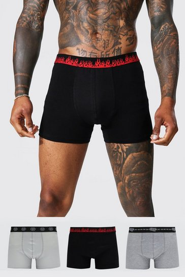 Grey 3 Pack Mixed Waistband Classic Trunks