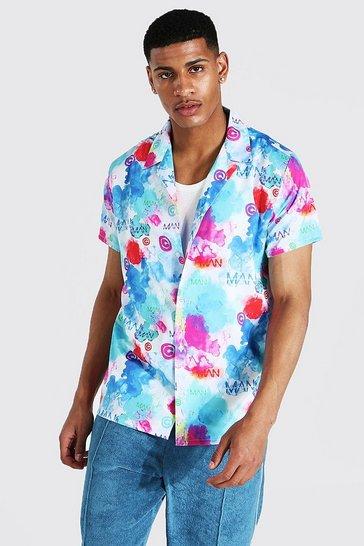 Multi Short Sleeve Tie Dye Man Revere Shirt