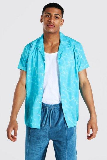 Blue Short Sleeve Water Ripple Revere Shirt