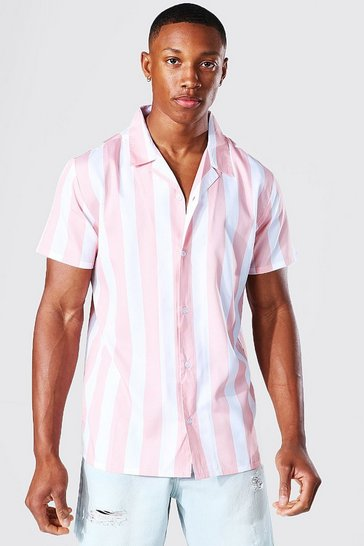 Coral pink Short Sleeve Stripe Revere Shirt