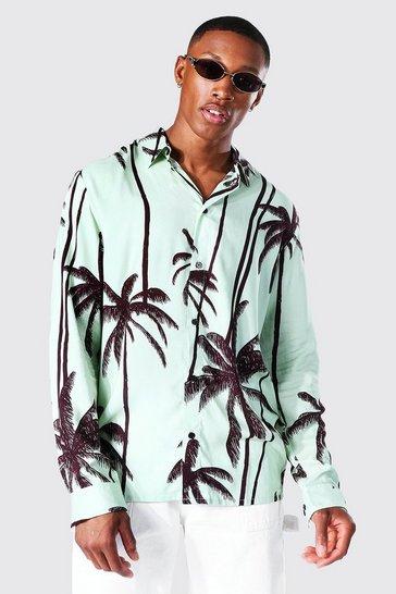 Khaki Long Sleeve Palm Print Viscose Shirt