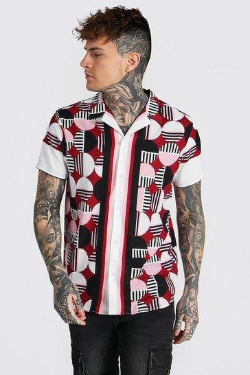 Red Short Sleeve Border Geo Revere Shirt