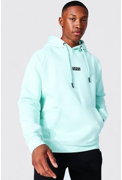 Mint green Man Active Training Over The Head Hoodie