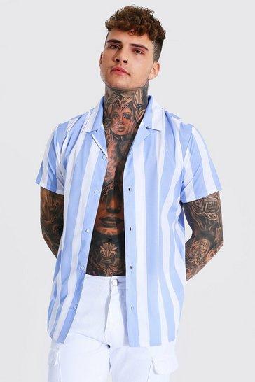 Blue Short Sleeve Stripe Revere Shirt