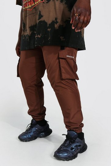 Chocolate brown Plus Shell 3d Cargo Strap Detail Joggers