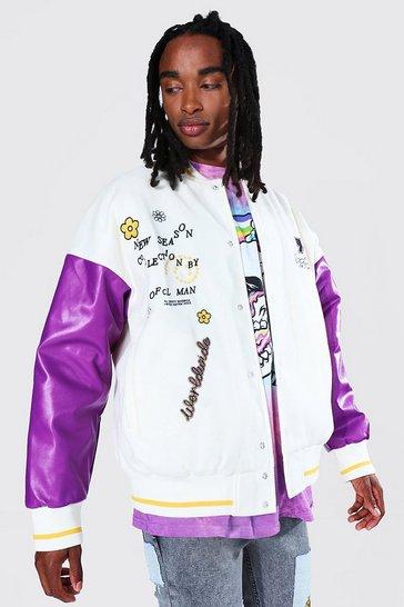 Purple Trippy Funk Back Face Varsity Bomber