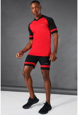 Black Man Active Colour Block Raglan Set Met Shorts