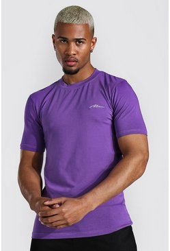 Purple Man Signature Muscle Fit Crew Neck T-shirt