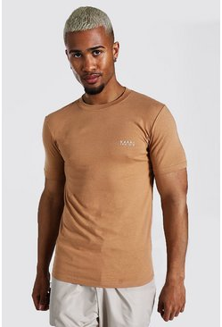 Brown Original Man Muscle Fit Crew Neck T-shirt