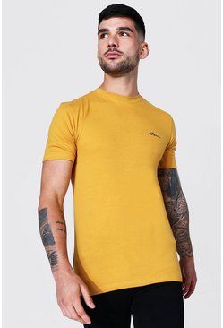 Mustard yellow Man Signature Muscle Fit Crew Neck T-shirt
