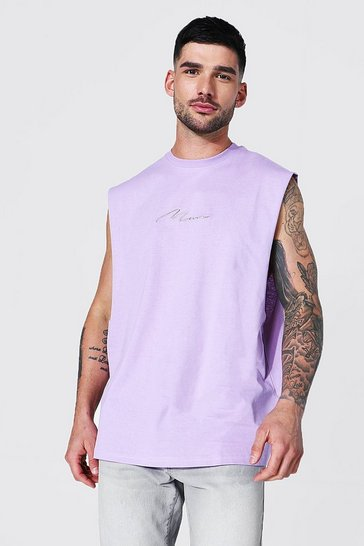 Lilac purple Man Signature Oversized Drop Armhole Tank