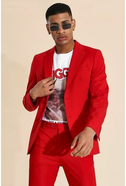 Skinny Single Breasted Suit Jacket , Red rojo