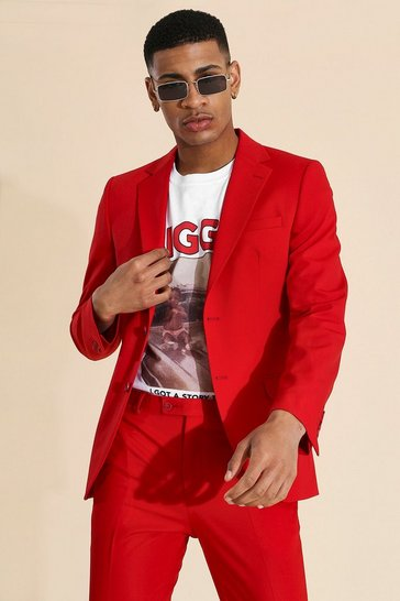 Red  Skinny Single Breasted Suit Jacket