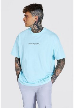 Light blue blå Official MAN Oversize T-shirt med rund hals