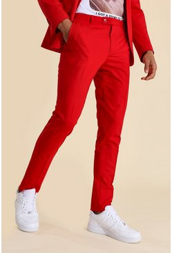 Pantalon de costume skinny bleu, Red rouge