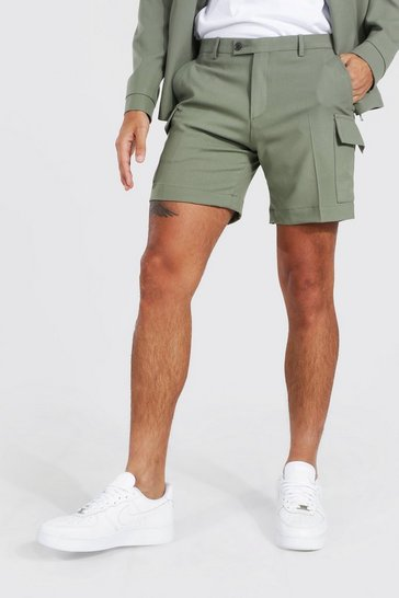 Sage green Smart Cargo Pocket Fixed Waistband Shorts