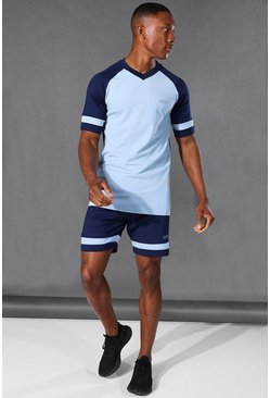Navy Man Active Raglan Colour Block Short Set