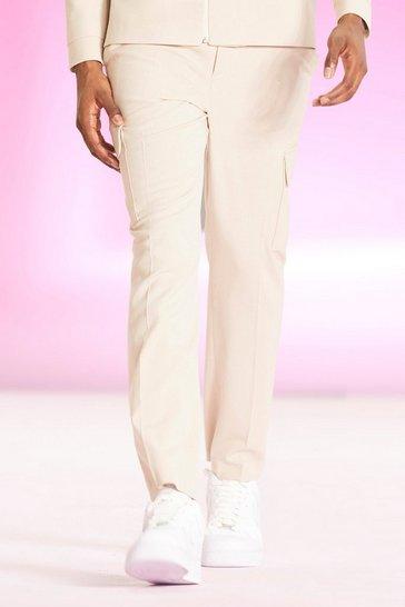 Beige  Smart Cargo Pocket Fixed Slim Fit Trousers