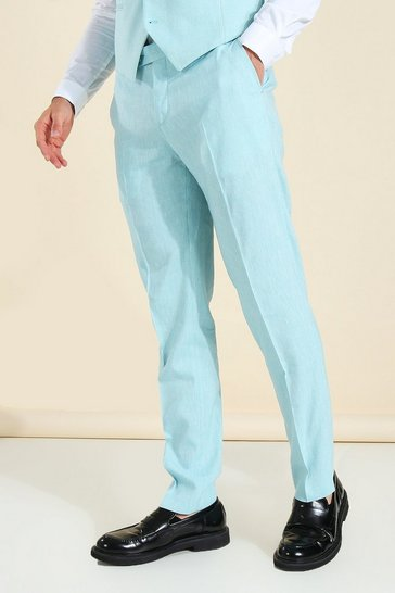 Teal green Linen Slim Suit Trousers