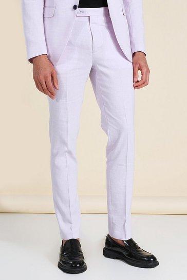 Lilac purple Linen Skinny Suit Trousers