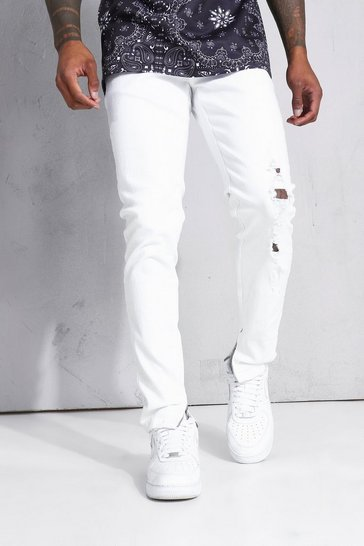 White Skinny Stretch Jean With Distressing
