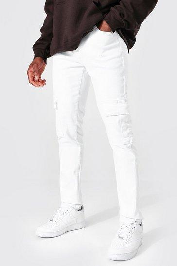 White Skinny Stretch Stacked Leg Cargo Jean