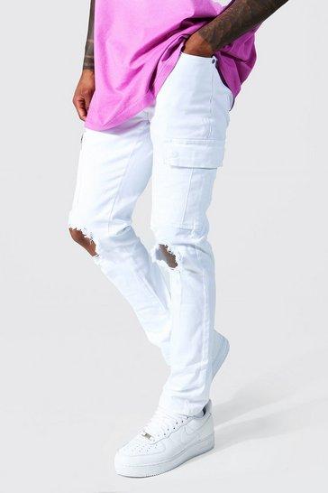 White Super Skinny Knee Rip Cargo Jeans