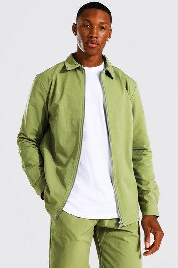 Sage green Tailored Zip Through Harrington
