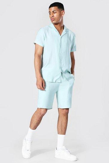 Mint green Textured Rayon Shirt And Short Set