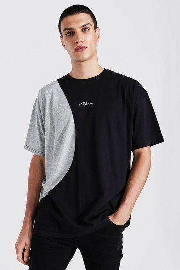 Black Oversized Man Signature Spliced T-shirt