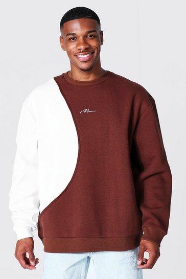 Chocolate brown Oversized Man Signature Spliced Sweatshirt