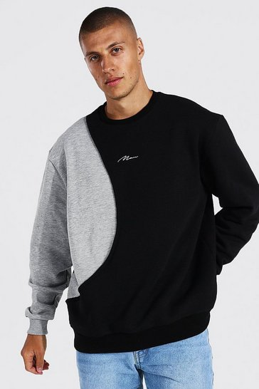 Black Oversized Man Signature Spliced Sweatshirt