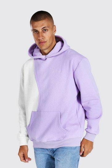 Lilac purple Oversized Man Signature Spliced Hoodie
