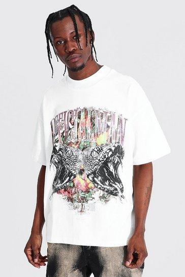Ecru white Oversized Man Foil Extended Neck T-shirt